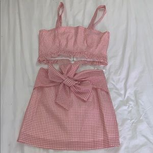 Pink gingham Two-Piece Set